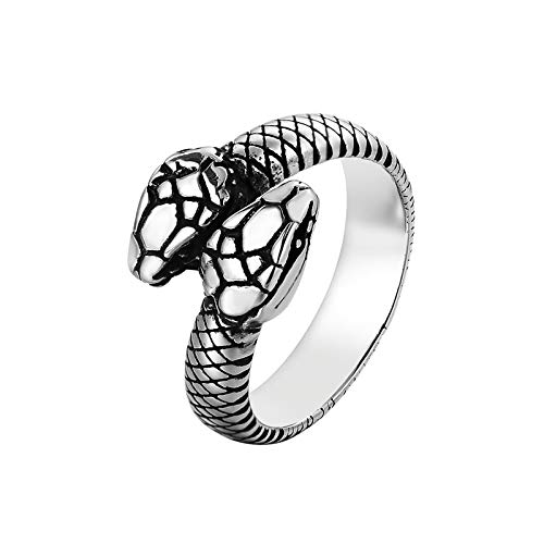 yfstyle Vintage Snake Ring for Men Women Stainless Steel Punk Rings Retro Gothic Double Snake Head Loop Fashion Animal Statement Ring Cool Snake Rings Gold/ Silver-SILVER7