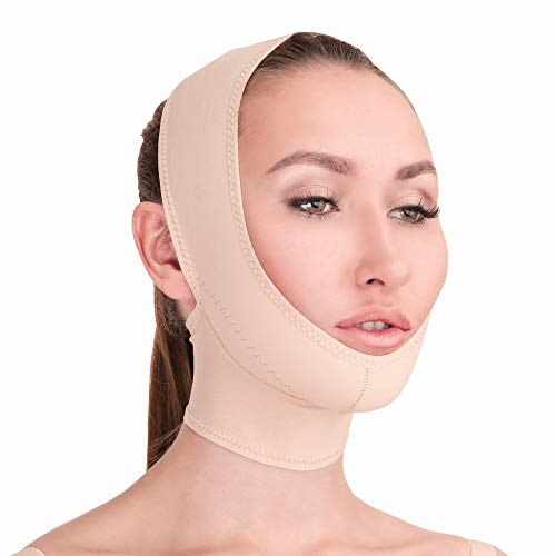 Post Surgical Chin Strap Bandage for Women - Neck and Chin Compression Garment Wrap - Face Slimmer, Jowl Tightening (Beige, L)