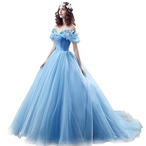 Chupeng Women's Princess Costume Off Shoulder Prom Gown Wedding Dresses Evening Gown Quinceanera Dress 2020 Blue