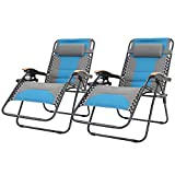 Sophia & William Padded Zero Gravity Chair 2 Pack Oversize Lounge Chair with Free Cup Holder, Supports 350 LBS (Cobalt Blue)