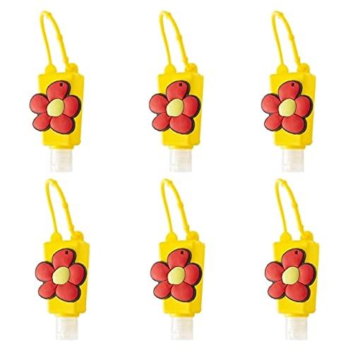 CCLIN 6 stücke Hand Sanitizer Nachfüllbare Leere Flasche Cartoon Floral Rainbow Silikon Flüssig Lotion Halter Keychain Carrier Container