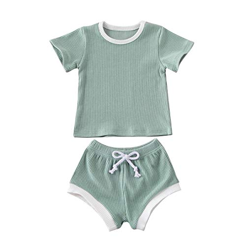 Newborn Baby Boys Girls Summer Outfits Infant Knitted Cotton Short Sleeve T-Shirt + Shorts Two Piece Clothes Set Light Green 12-18 Months