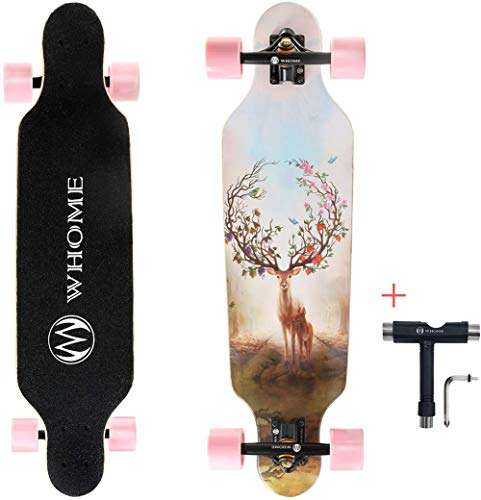 WQY Longboards Skateboard - 31 Pouces Pro Small Longboard Carving Cruising, Carving, Free-Style and Downhill for Adult Youth Kid Beginner Girl and Boy T-Tool Inclus,C