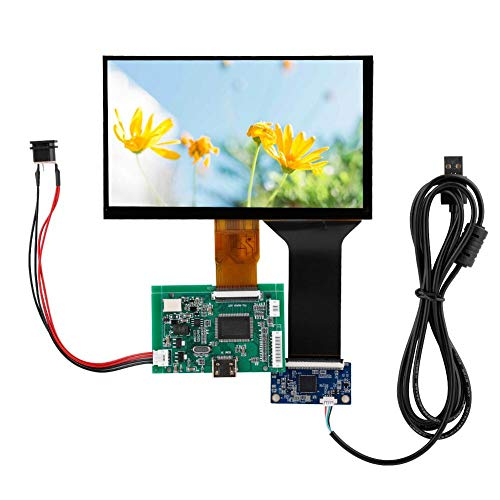 HDMI VGA Monitor Screen Kit 7 Inch LCD TFT Display 800 * 480/1024 * 600 Sturdy with Driver Board for Raspberry Pi 3 5V 2A USB Power Supply(1024 * 600 capacitive kit)