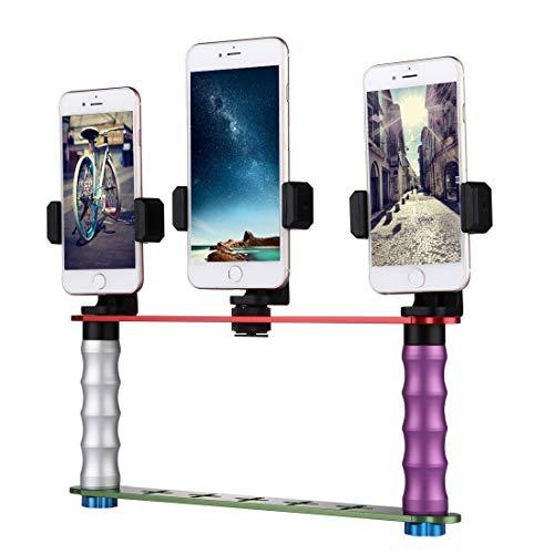Luoshan Smartphone Live Broadcast Bracket Kits de montaje de doble módulo de mano Selfie con 3x clips for teléfono, for iPhone, Galaxy, Huawei, Xiaomi, HTC, Sony, Google y otros teléfonos inteligentes
