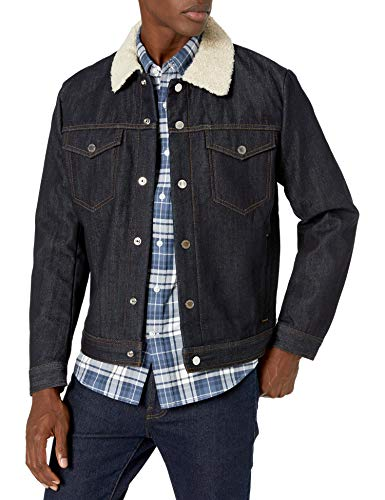 A|X Armani Exchange Men's Selvedge Jacket with Faux Shearling Collar, Indigo Denim, M