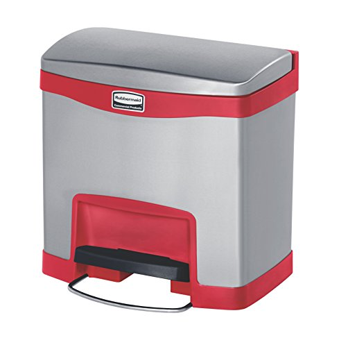 Rubbermaid Commercial Products Slim Jim 1901983 - Contenedor con pedal frontal, metal, capacidad de 15 l, rojo