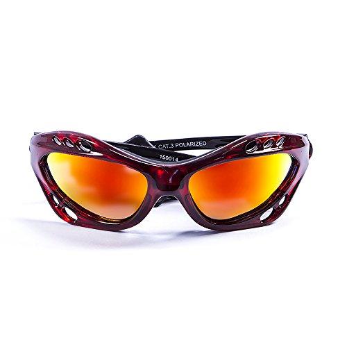 OCEAN SUNGLASSES - Cumbuco - lunettes de soleil polarisÃBlackrolles  - Monture : Rouge Transparent - Verres : Revo Jaune (15001.4)