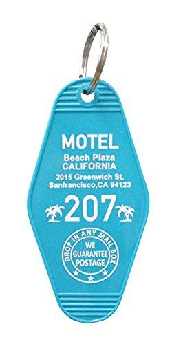 S.H.O.ENTERPRISE キーホルダー 青 9×4.5×1cm ホテルキーホルダー MOTEL CALIFORNIA 0069615-0009