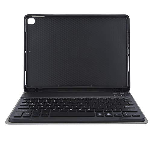 SONK Teclado para tablet, teclado para tablet desmontable inalámbrico portátil para Bluetooth con funda protectora de material PU suave, teclado retroiluminado de siete colores (negro)