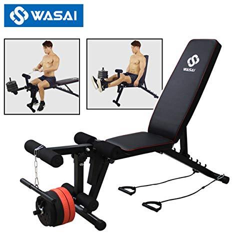WASAI(ワサイ) レッグエクステンション ベンチ マシン マルチトレーニングベンチ【フラット/インクライン/ダンベル】大腿四頭筋/腹筋/背筋/筋トレ (MK035黒)