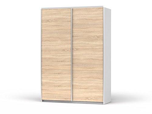SMARTBett GmbH Armario de puertas correderas Colin ancho 153 cm blanco/roble Sonoma