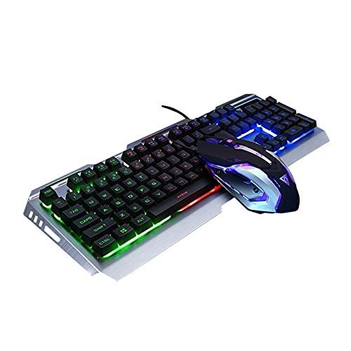 SFQRYP. Mechanische Tastatur- und Maus-Combo-Set RGB Backlit-Gaming-Tastatur und -Maus USB Wired Gaming Office Desktop Laptop Gaming (Color : Silver)