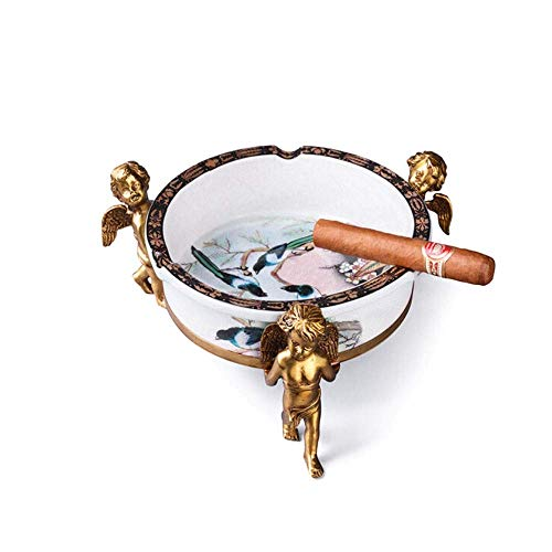 JIGUANG Cigar Ashtray Cigar Ceramic Magpie Cracked Glaze Angel Bronze Base Retro Creative Large Caliber Smoke Trough, White, Best Gift Ideal for Home, Office use, Welcome to Buy