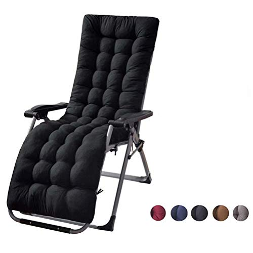 Sun Loungers Recliners Foldable Padded, Overstuffed Recliner Portable Garden Patio Thick Relaxer Chair Seat Cover, for Travel Holiday Garden Indoor Outdoor, Black, 40x110cm