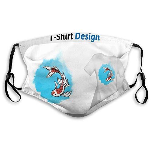 Gezicht Cover Unisex Stofhoezen Leuke Vis Lange vinnen Zwemmen Onderwater Print Mock up Sjabloon Geïsoleerde Leuke Vis