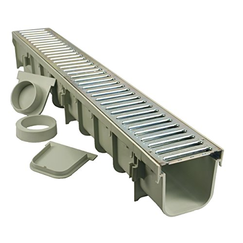NDS 864GMTL 5-Inch Pro Channel Drain Kit with Metal Grate, 5 in, Black