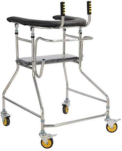 LXDDJZXQ Andador para Ancianos Walker, Plegable de Cuatro Ruedas Roller Walker con Asiento Ajustable Altura Andador Permanente
