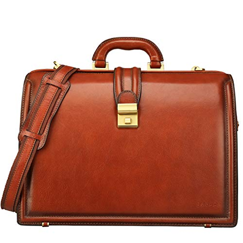 Banuce Lawyer Briefcases for Men Full Grains Italian Leather Doctors Bag Lock 15.6 Inch Laptop Attache Case Business Legal Attorney Litigation Bag