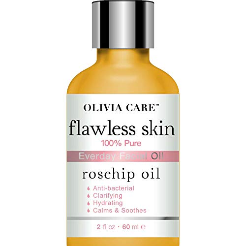 Rosehip Pure Flawless Essential Facial Oil By Olivia Care – 100% Natural. Moisturize, Hydrate & Soften Skin. Promotes Radiance, Elasticity & Rejuvenating. Anti-Aging & Remove Scars - 2 OZ