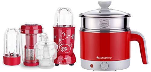 Wonderchef - 63152746 Nutri-Blend Complete Kitchen Machine (CKM) with 3 Jars 400W - Red + Wonderchef - 63152931 Luxe Multicook 1.2 L Kettle, Red