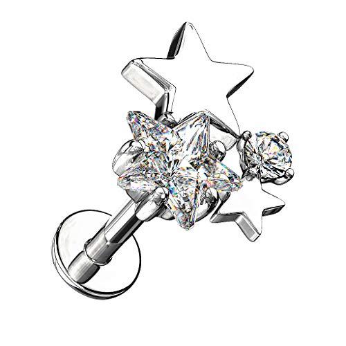Piersando Barbell Piercing 316L Chirurgenstahl mit Kristall Sterne für Lippe Labret Ohr Tragus Helix Ohrpiercing Lippenpiercing Silber 6mm