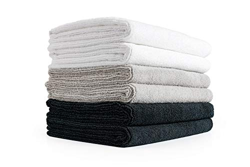 The Rag Company (6-Pack Spa Sport Mix 16 in. x 27 in. Spa, Gym, Yoga, Exercise, Fitness, Sport, and Workout Towels - Ultra Soft, Super Absorbent, Fast Drying, Premium Terry Ice Grey, White, and Black