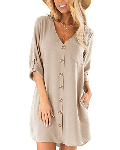 CNFIO blouse dames zomerjurk elegant shirt met lange mouwen V-hals 1/2 mouwen eenkleurig shirt design korte blouse-jurk mini jurk strand jurken