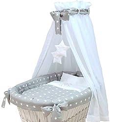 Babymajawelt® Ersatz Bett Set für Stubenwagen - 7 Teile, Bettwäsche, Nestchen, Himmel, Steppbett, Spannbetttuch (ohne Stubenwagen) (Stars grau)