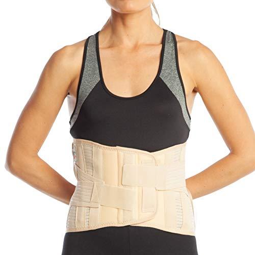 ArmoLine Unteren Rücken Lendenwirbelstütze Korsett, lumbosakral Unterstützung Gürtel - 26 cm Rückseite Größe - Untere Lendenwirbelstütze Korsett - (S1, beige)