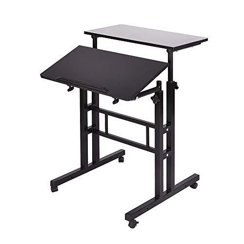 DlandHome Sit-Stand Tischwagen Mobile Höhenverstellbare Sitzfläche zum Stehpult Stehtisch Stehtisch Arbeitsplatz Mobile Schreibtisch, Schwarz