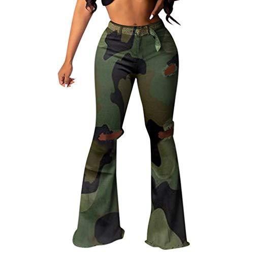 Fantastic Deal! Handyulong Womens Jeans High Waisted Bootcut Leopard Print Casual Bell Bottom Stretc...