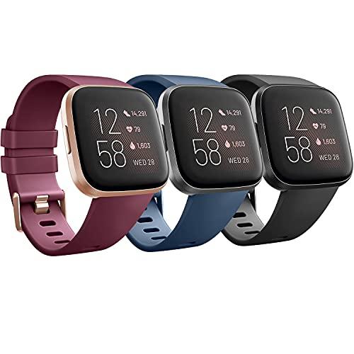 Mugust 3 Piezas Correa Compatible con Fitbit Versa/Fitbit Versa 2 Correa, Pulsera de Repuesto Clásica de Silicona para Fitbit Versa 2 / Versa/Versa Lite Correas (S, Rojo Vino/Negro/Azul Marino)