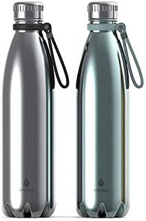 Manna Vogue Insulated Bottles - 25 oz - 2 Pack (Chrome and Ice)
