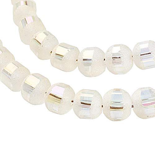 Glasperlen Galvanisierte 6mm Runde Matt perlen mit Silber plattiert 1 Strang 100stk Regenbogen Effekt Perle mit Loch zum auffädeln Farbauswahl (Weiss)