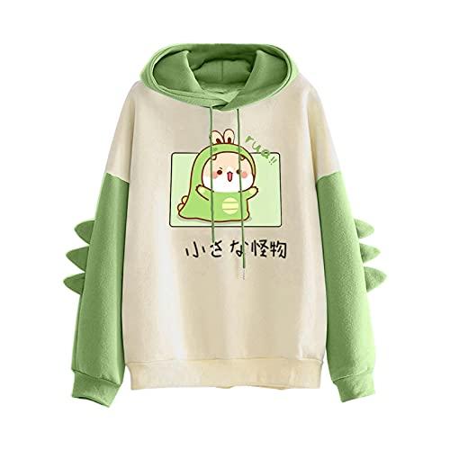 Pianshanzi Sudadera de forro polar con capucha para mujer, diseño de dinosaurio Kawaii, con cordón, sudadera con capucha para mujer, D verde., L