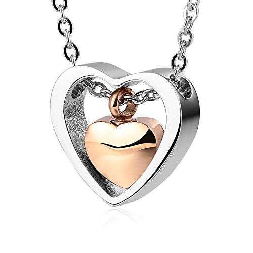 Beydodo Edelstahl Urne Kette mit Anhänger Doppelte Herzen Ascheschmuck Gold Halskette Partnerketten
