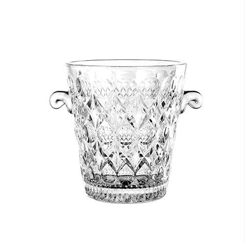 Secchiello del ghiaccio in vetro, con due manici, per mantenere fresco vino e champagne