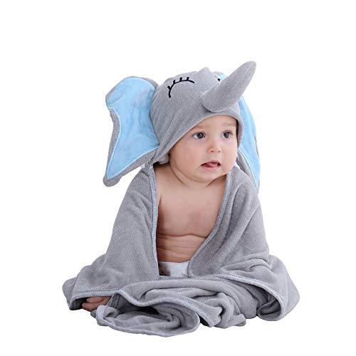 Innobeta Accappatoio Neonato Bambini in Bambù Biologico | Regalo per Neonati o Bambini | Asciugamani Neonato Bagnetto con Design Carino A elefante |Morbido e Assorbente | 75 Cm X 75 Cm
