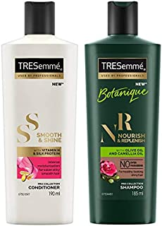TRESemme Smooth and Shine Conditioner, 190ml & TRESemme Nourish and Replenish Shampoo, 185ml