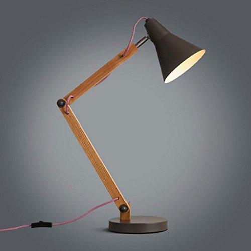Lampe de table lampe de bureau Lampe de table en bois massif chambre à coucher lit de chevet lampe de bureau d'hôtel lampe réglable personnalisée de mode de personnalité rétro de bureau de bureau, LED