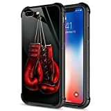 iPhone SE 2020 Case,Tempered Glass iPhone 8 Case, Boxing Glove iPhone 7 Cases [Anti-Scratch] Fashion Cute Cover Case for iPhone 7/8/SE2 4.7-inch Red Gloves