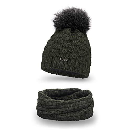 PaMaMi Essential Winter Set Mütze und Schal für Damen   Khaki   Strickmütze Beanie mit Fellbommel und Fleece Gefüttert   Stylish Loop Schlauchschal