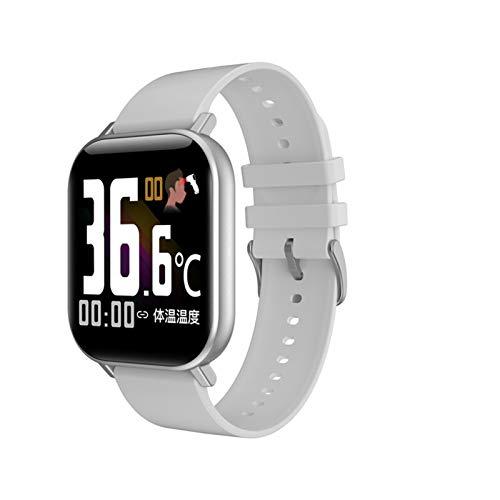Reloj Inteligente con Temperatura Corporal Hombres Mujeres Ritmo Cardíaco Ritmo Arterial Monitor De La Presión De Fitness Reloj De Pulsera Inteligente (Color : Silicone Grey)
