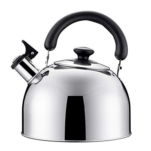 tea kettle Bouilloire À Sifflet en Acier Inoxydable, Cuisinière À Induction Bouilloire À Gaz Bouilloire À Sifflet en Acier Inoxydable Poli Miroir (Couleur : Silver, Taille : 3L)
