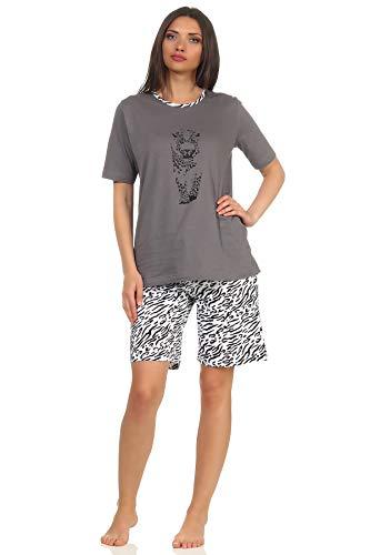 Shorty Pyjama Kurzarm Schlafanzug mit Tigermotiv, auch in Übergrössen bis Gr. 60/62, Farbe:grau, Größe2:36/38