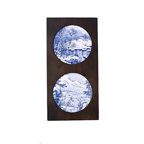 Skulptur Statue Blau Und Weiß Kreative Keramikplatte Malerei Veranda Wohnzimmer Sofa Hintergrund Wanddekoration Landschaft Eingelegten Porzellan Gemälde Massivholzrahmen (Color : A)