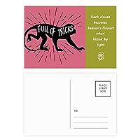 黒猿動物のシルエットのナチュラル 詩のポストカードセットサンクスカード郵送側20個
