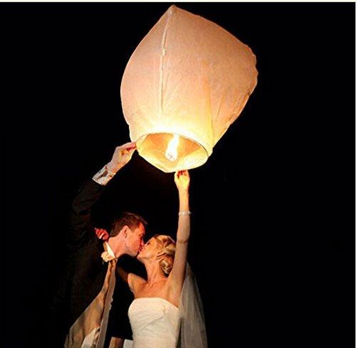 coolshiny® Lot de 50 Lanternes volantes blanches blanc surprise fête mariage céleste chinoise anniversaire extraordinaire