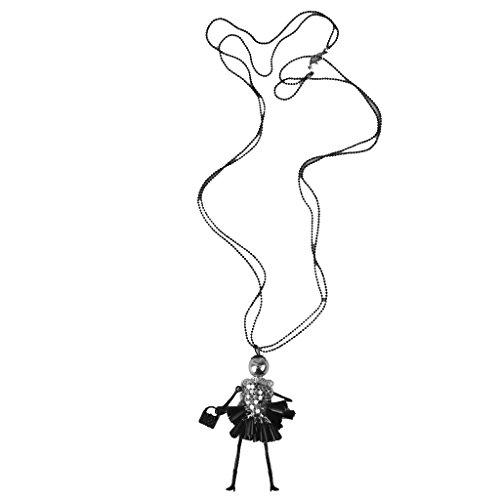 Milageto Collar con colgante en forma de muñeca con brillantes de cristal